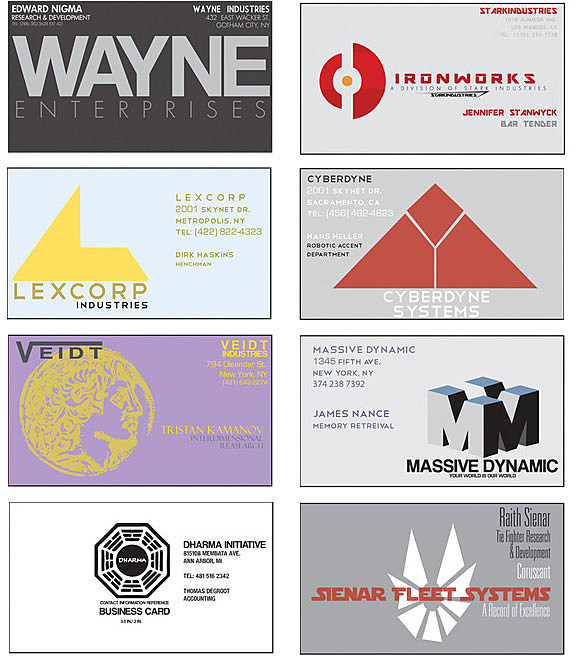 Business cards from your favorite fictional comics companies visit fros site to check out the big picture which includes bold challenges like cards for sterling cooper duff breweries ingen and my personal colourmoves