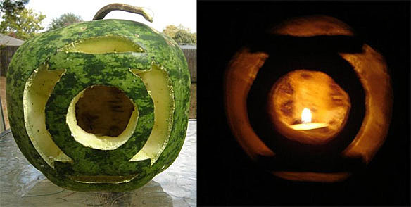 The lantern corps rainbow gets colorful carvings for halloween