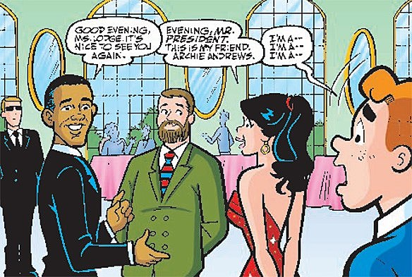 Barack obama sarah palin star in shockingly plausible archie 616 and thus writer alex simmons and artist dan parent create the first plausible in universe barack obama comic book appearance they and archie comics are to sciox Image collections
