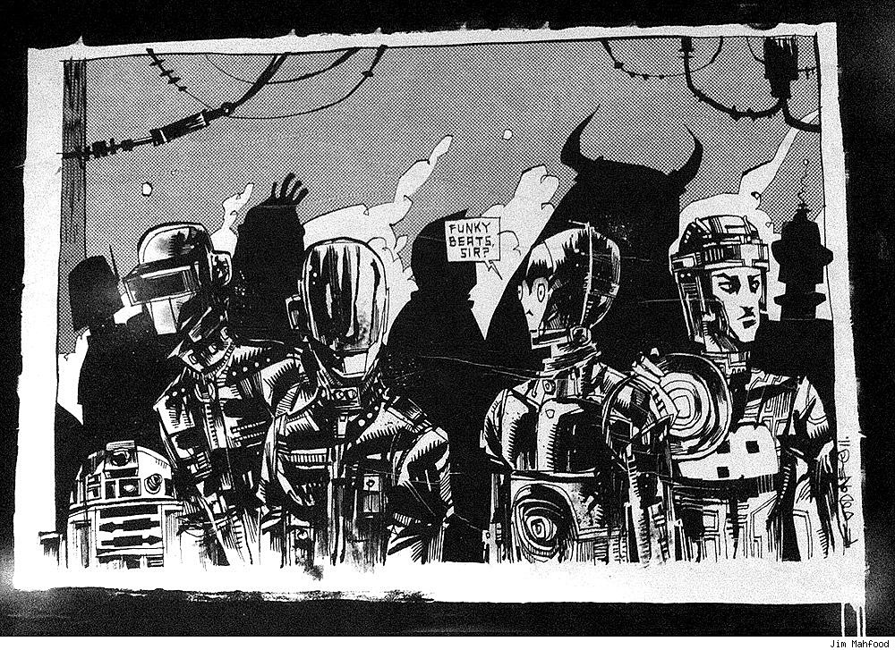 Jim mahfood mural is geek crossover to end all geek for Daft punk mural