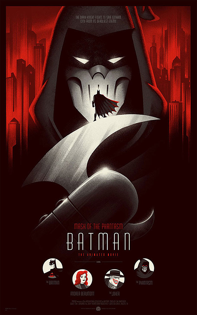 Mondo's limited edition Batman Mask of the Phantasm poster, created by Phantom City Creative