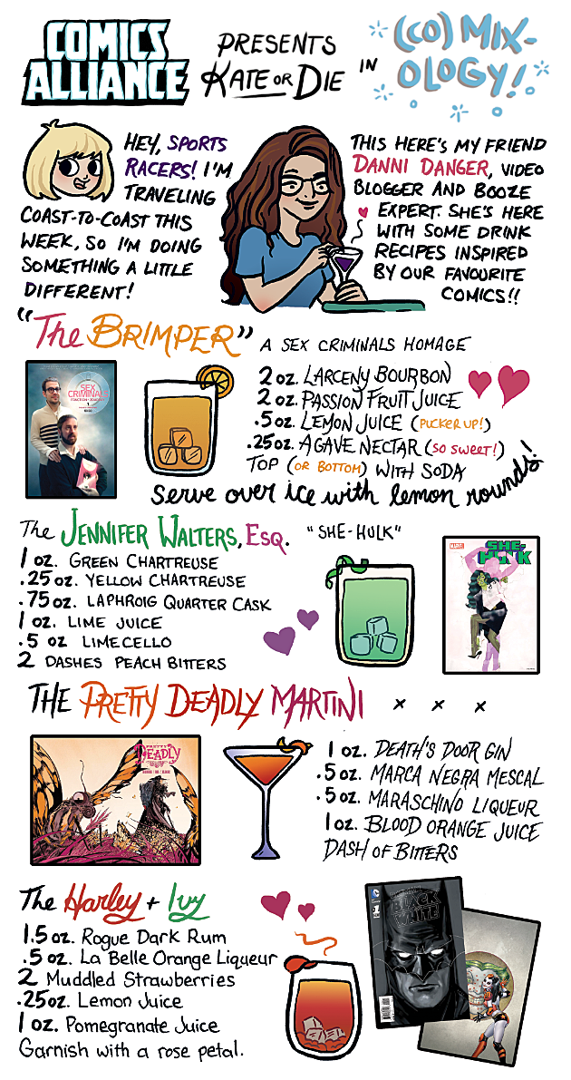 ComicsAlliance Kate or Die Comic Book Cocktails