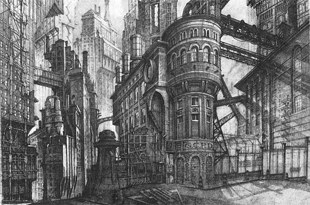 Gotham City designs by Anton Furst