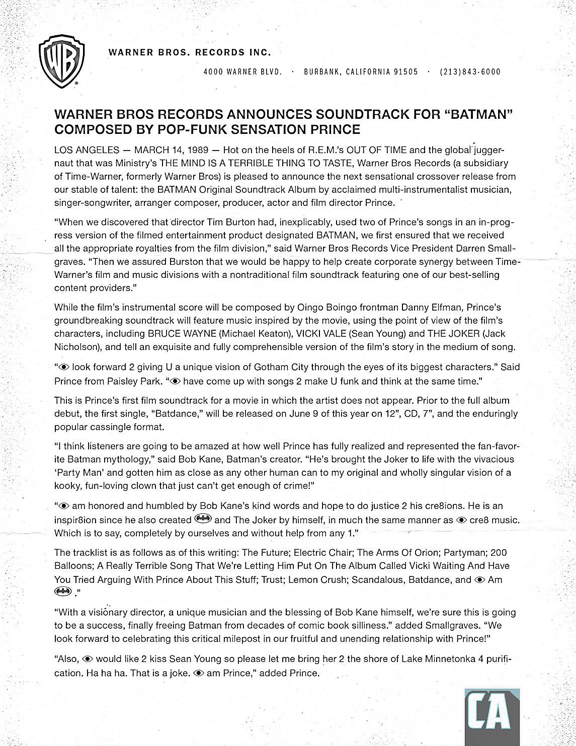 ComicsAlliance Prince Batman Soundtrack Press Release