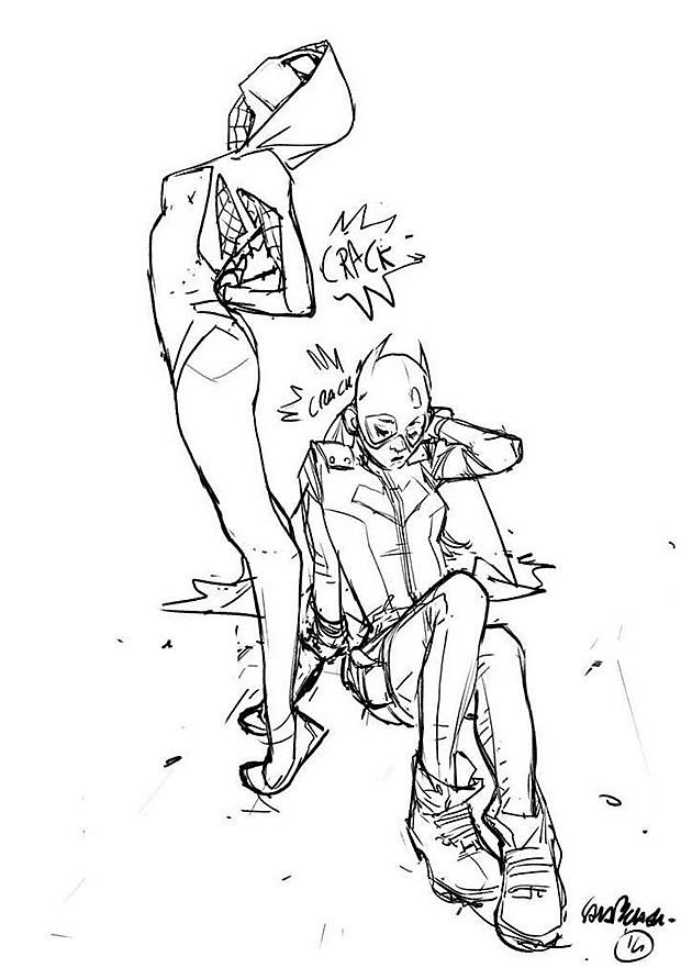 Spider-Gwen and Batgirl of Burnside by Sara Pichelli