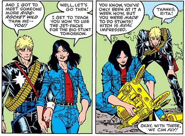 Longshot chats with co-star Ricochet Rita, whose appearance was modeled on Nocenti. Art by Art Adams and Whilce Portatio