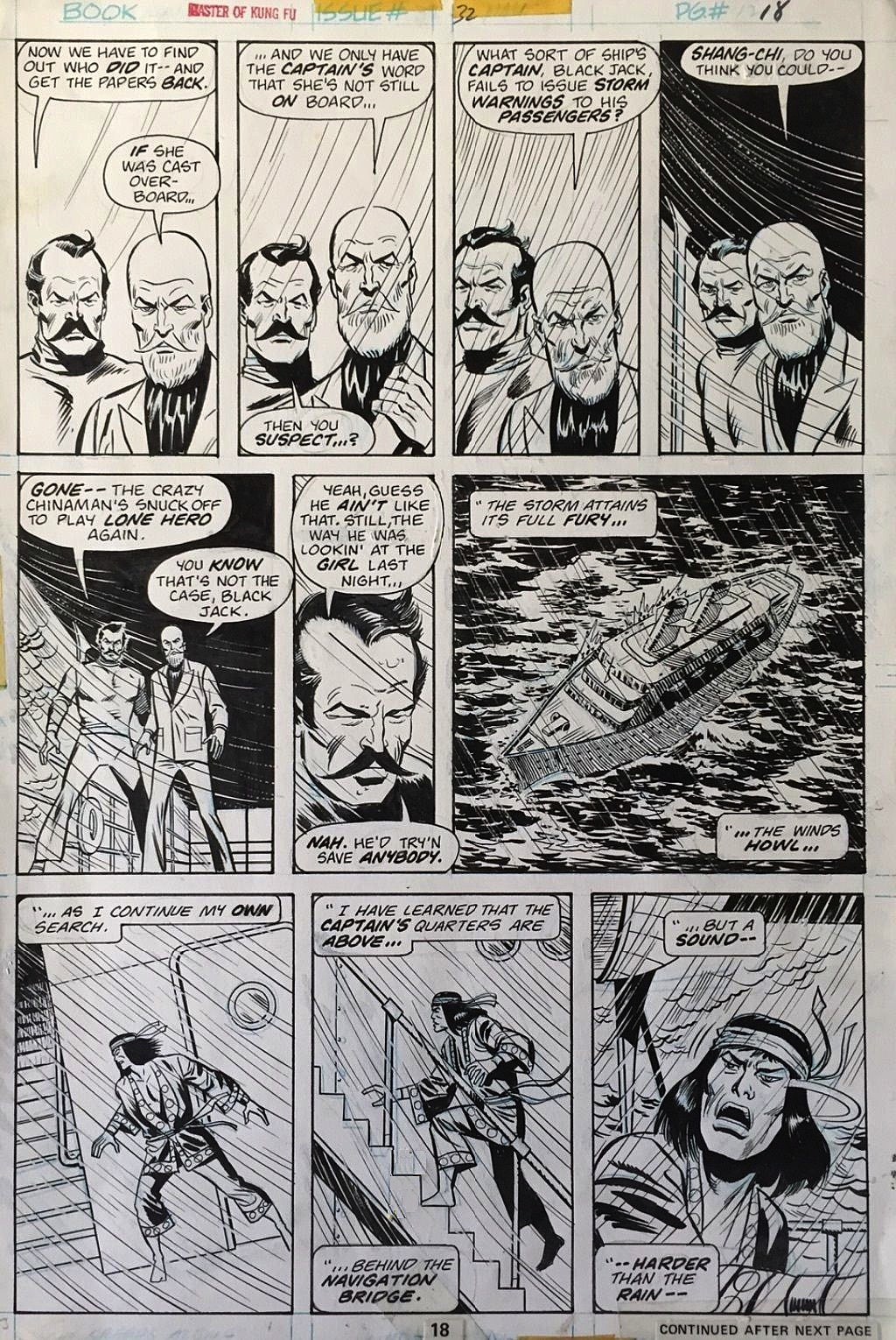 An original page from Master Of Kung Fu #32