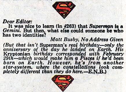 Superman letter column