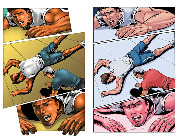 Original art (left) and recolored art (right) from Headlocked: A Single Step