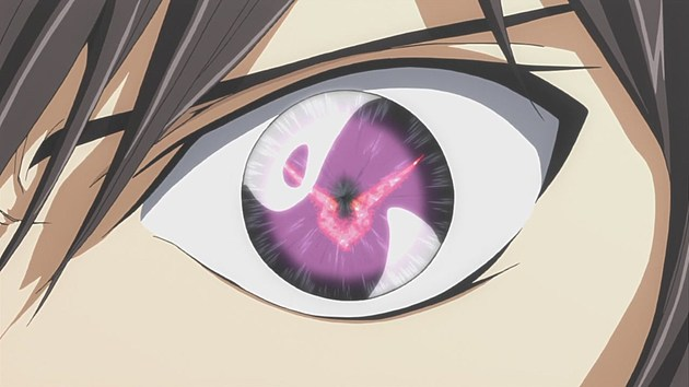 A close-up of Lelouch's Geass