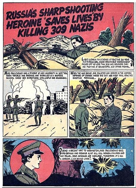 Pro-Russian WWII propaganda from 'War Comics' #3, 1942