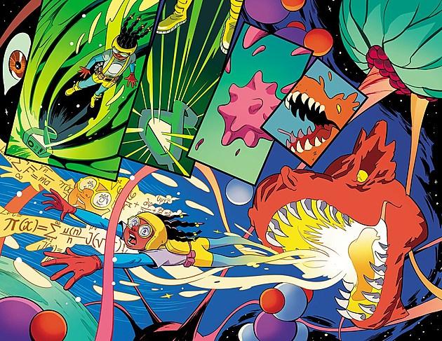Moon Girl & Devil Dinosaur. Art by Natacha Bustos and Tamra Bonvillain / Marvel Comics